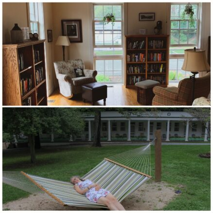 2 photos collage, 1st photo is of the library with comfy chairs and books; 2nd photo is of Bell lying in a hammock outside