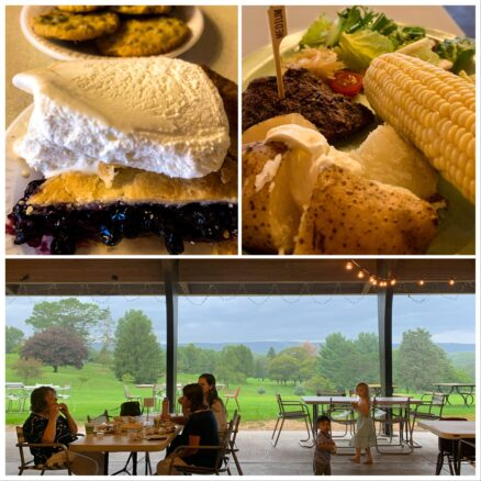 3 photo collage: 1st image blueberry pie and vanilla ice cream, 2nd image steak, corn on cob, baked potato and salad, 3rd image, people eating at outdoor tables overlooking a golf course