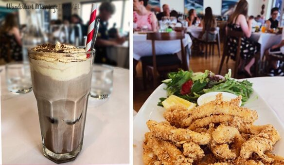 2 pictures, one of a glass with iced coffee toped with cream and chocolate sprinkles, the other photo is is over fried calamari in a restaurant