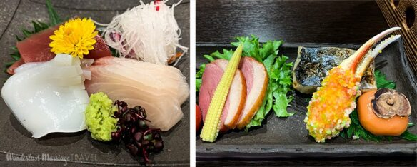 2 photos of Kaiseki dinning, one of sashimi and the other of a plate with seafood, ham and corn