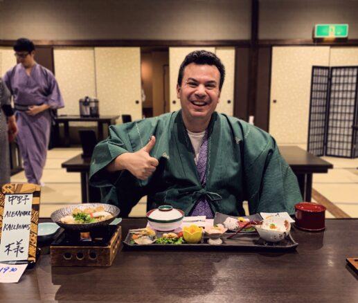 Alex at dinner in his casual komono