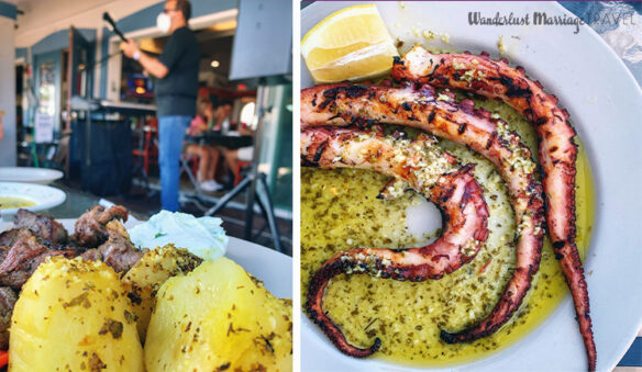 two photos, one of plate of potatoes and lamb with a man playing guitar in the background, the other of octopus tentacles grilled on a plate with a slice of lemon