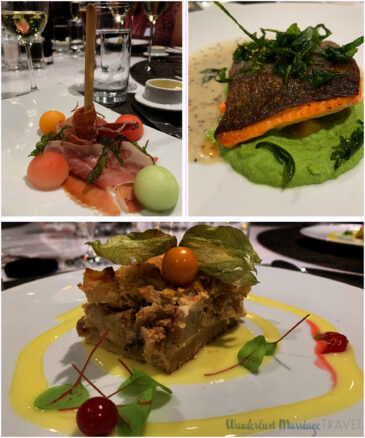 3 photos, one of prosciutto with melon balls, a second picture of salmon a top spinach puree and third picture of apple cake with vanilla custard and berries
