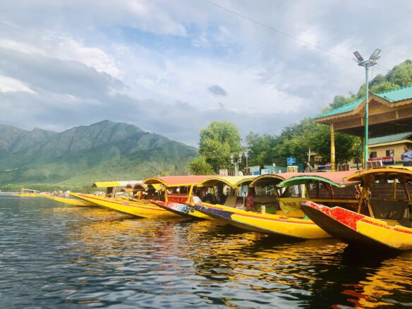 yellow boats docked on the lakeside, with a large mountain range in the background